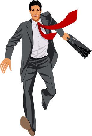 busy person: Ejecutando y sonriente hombre de negocios en un gris adaptan con Malet�n