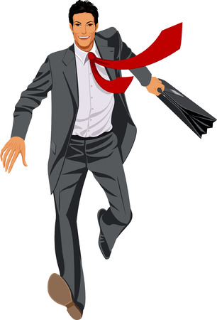 running businessman: Running and smiling businessman in a gray suit with briefcase Illustration
