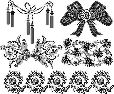 tassels: Patterns in black