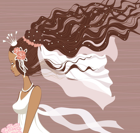 bridal veil: Young bride with long curled hair
