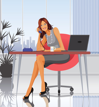 Woman sitting at a desk and speaking on the phone Vector