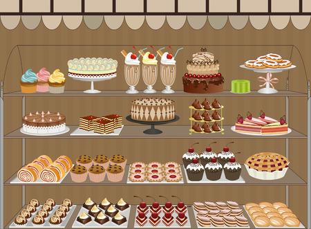 Ventana de una pastelería con chocolates, pasteles, panecillos y cookies Ilustración de vector