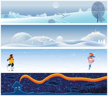 ni�o en patines: Cuatro banners tranquilo y pintoresco de invierno  Vectores