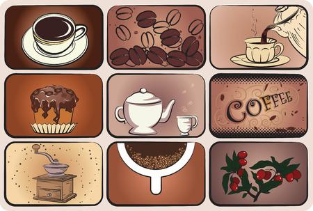 chicchi caff� su sfondo bianco: Insieme di elementi di caff� per il design