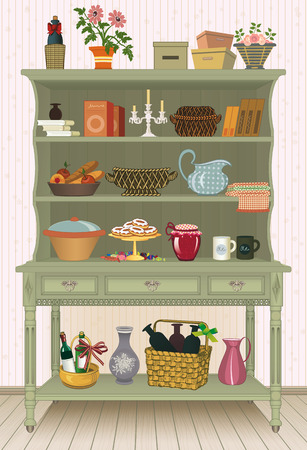 cupboard: Vintage cupboard with kitchen utensils and food