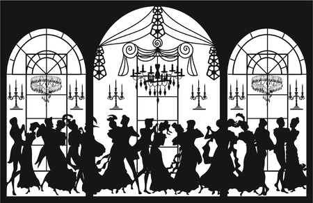 Victorian party with silhouettes of dancing couples  Vector
