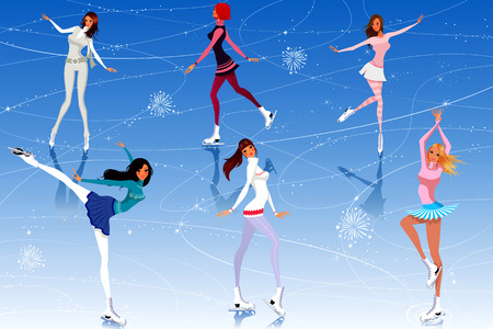 skaters: Beautiful girls skate on ice