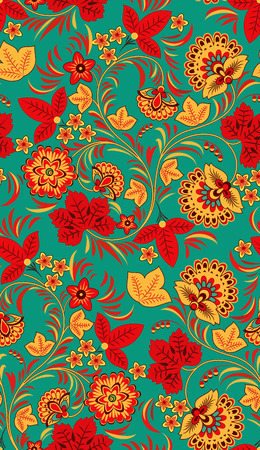 vintage styled design: Seamless floral pattern in the colors of autumn