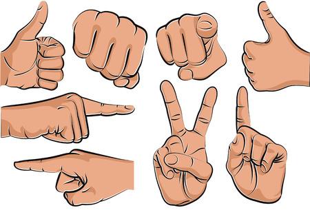 집게 손가락: Collection of hand gestures - vector illustration