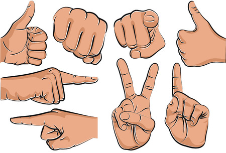 pointing up: Collection of hand gestures - vector illustration