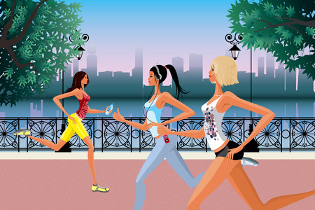 Three girls jogging in the morning Stock Vector - 8642261