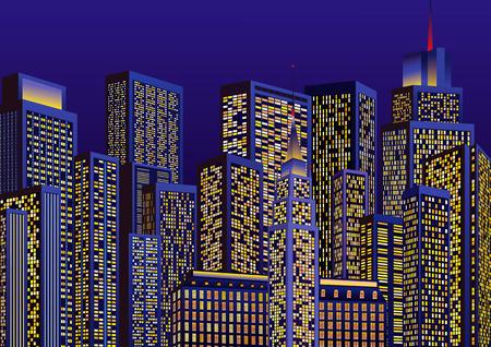 Luces de una ciudad en la noche Ilustración de vector
