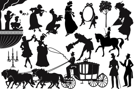 Silhouettes of people of Victorian times