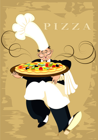 The chef brings a steaming pizza Stock Vector - 8642207