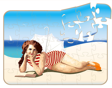 Retro puzzle with a beautiful girl on the beach Vector
