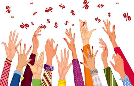 mujer en el supermercado: De manos extendidas la mujer para descuento de venta