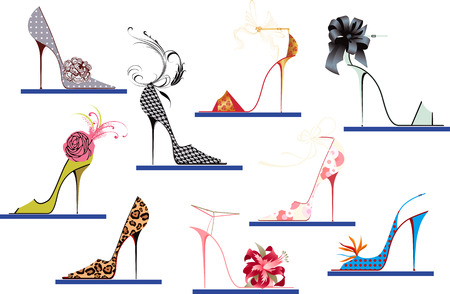 Collection of women's shoes with high heels Stock Vector - 8642215