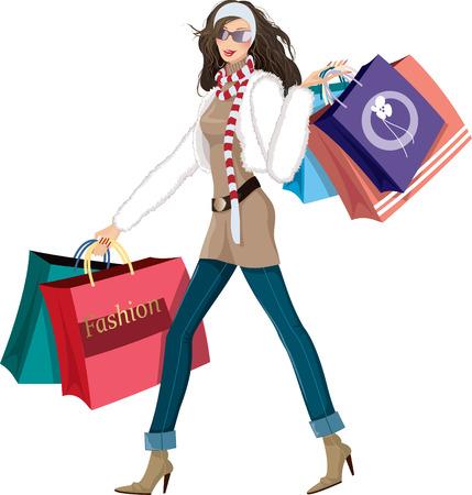 moda urbana: Mujer con bolsas de compra Vectores