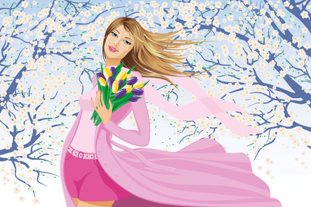 Young woman holding a bunch of tulips outside on a spring day Vector