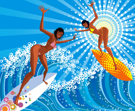 Two surfer girls  glide riding over the waves on surfboards