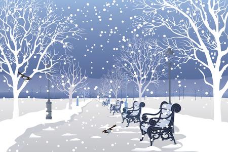 neige qui tombe: Neige tombait dans le parc de la ville