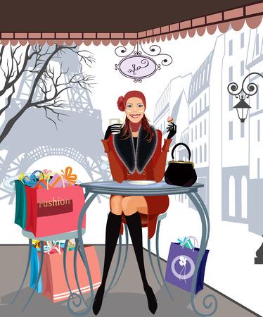 drinking coffee: Beautiful girl beber caf� en un caf� de Par�s despu�s de un viaje de compras Vectores
