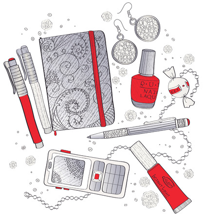 cosmetic lacquer: The contents of a business womans handbag Illustration