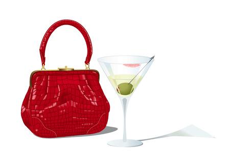 unfinished: Bolso rojo y vaso de martini sin terminar Vectores