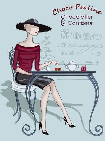 window bars: Beautiful woman sitting at a cafe