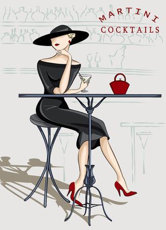 high spirits: Beautiful  woman sitting at a cocktail bar Illustration