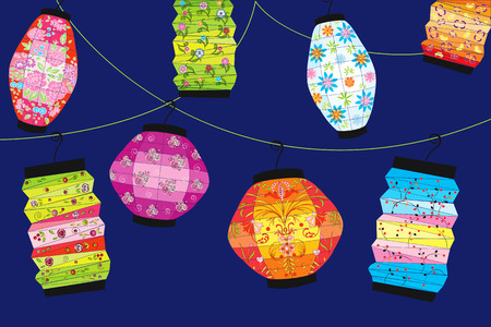 Background with chinese lanterns Vector