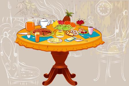 Runder Tisch serviert zum Frühstück Vektorgrafik