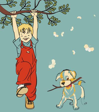 Happy boy with a dog Vector
