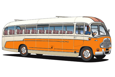 coach bus: Old bus on a white background