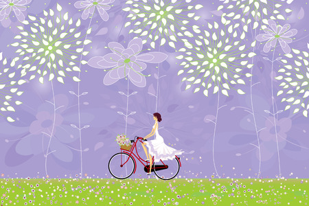 Girl rides a bicycle in an abstract forest