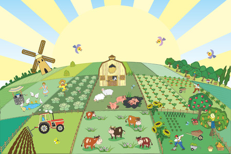 man in field: Vector illustration of countryside