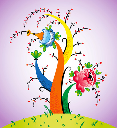 flowered: Fairy flowering tree Illustration