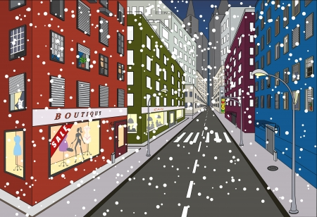 First snow on some of the streets of New York Stock Vector - 8642216