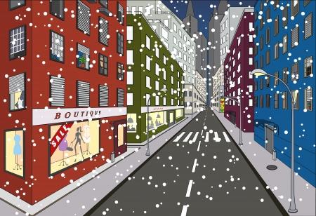 new york street: Premi�re neige sur certaines rues de New York Illustration