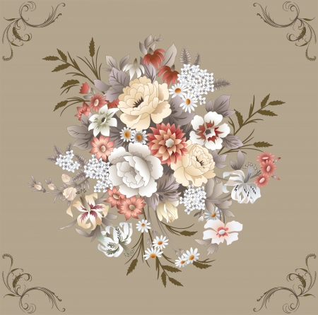floral pattern with different flowers Vector