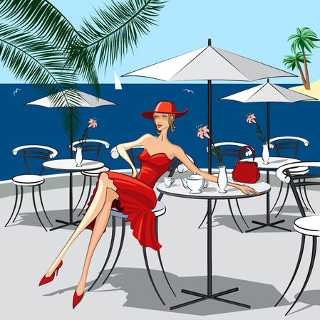 outdoor cafe: Background with beautiful woman sitting at a cafe by the sea