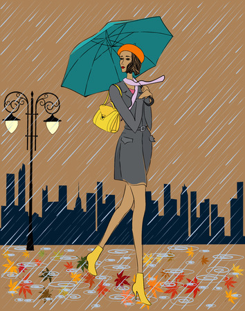 fall protection: Girl in the rain Illustration