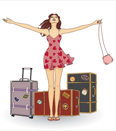 travelling: Girl with suitcases