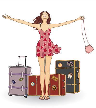 mujer con maleta: Ni�a con maletas Vectores
