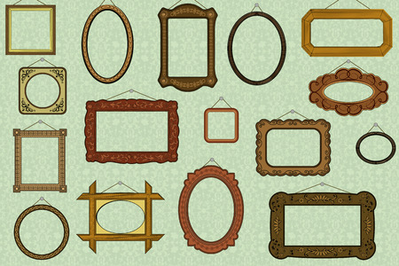 wood carving: Retro background with old-fashioned frames Illustration