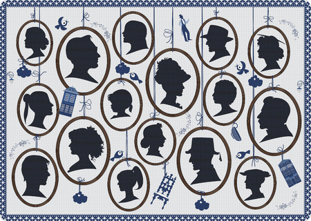 heads: Background with silhouettes of peoples faces in oval frames