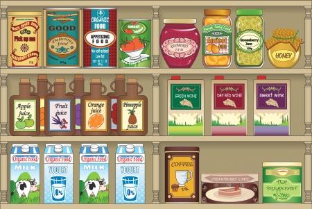 frutta sciroppata: Scaffali con i prodotti