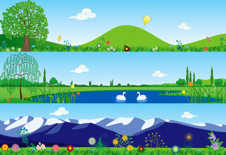 animal kite: Three banners with summer tranquil scenery Illustration