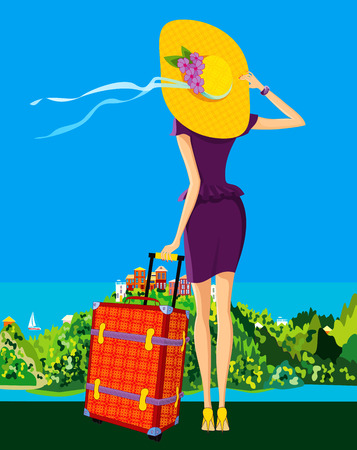 The girl looks around the area where she will spend her vacation Stock Illustratie