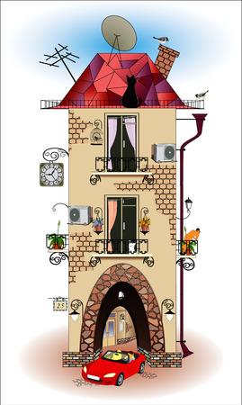 fachadas de casa: Casa de dibujos animados sobre un fondo blanco Vectores